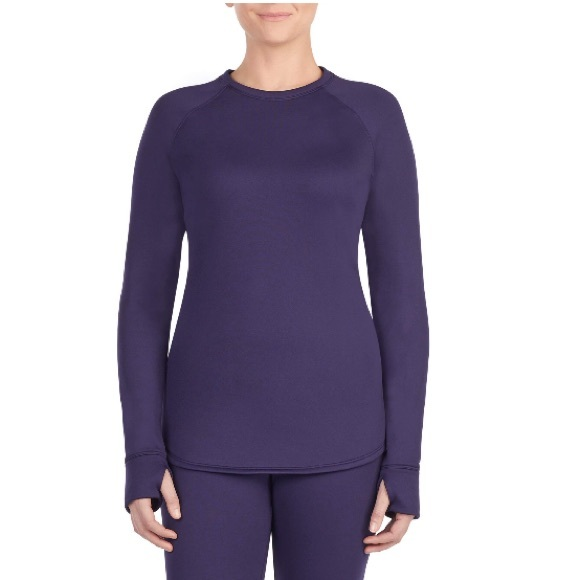 ClimateRight Cuddl Duds Stretch Fleece Long Sleeve Crew Black Med base layer